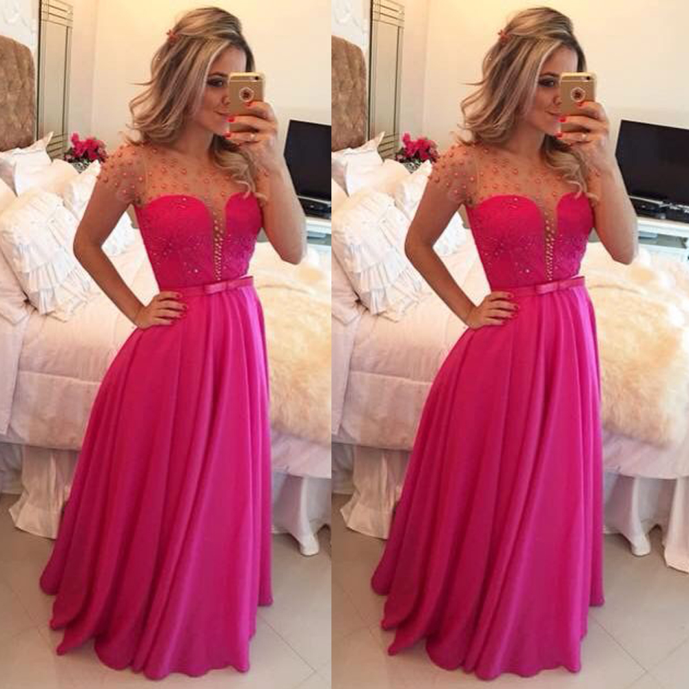 Chiffon Prom Dress, Hot Pink Prom Dresses, Long Sleeve Prom Dress ...